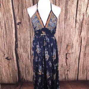 Angie Maxi Romper Dress Blue Floral Smocked Halter